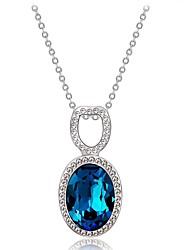 abordables -Mujer Cristal / Zirconia Cúbica Geométrico Collares con colgantes - Cristal, Plateado Clásico Azul Oscuro Gargantillas Para Fiesta, Formal