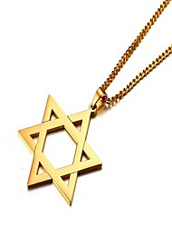 cheap -Men's Pendant Necklace - Stainless Star, Star of David Simple Gold, Silver Necklace One-piece Suit For Gift, Daily