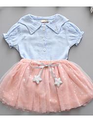 tanie Modna odzież dziecięca-Dziecko Sukienka Poliester Dziewczyny Codzienny Krótki rękaw Moda miejska Niebieski Blushing Pink