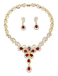cheap -Women's Jewelry Set - Gold Plated Sweet, Fashion Include Bridal Jewelry Sets Dark Red For Wedding / Office & Career
