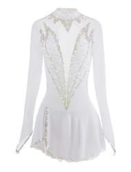 economico -Vestito da pattinaggio artistico Per donna Da ragazza Pattinaggio sul ghiaccio Vestiti Bianco Elastene Con diamantini Elevata elasticità