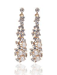 baratos -Mulheres Brincos Compridos - Imitação de Pérola, Imitações de Diamante Boêmio, Fashion, Boho Dourado Para Para Noite Bikini