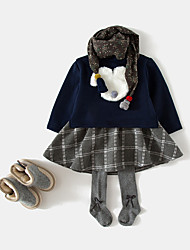 baratos -Menina de Vestido Diário Sólido Primavera Algodão Fibra de Bamboo Elastano Manga Longa Vintage Rosa Azul Marinha