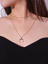 cheap -Women's Moon Shape Casual Basic Pendant Necklace , Alloy Pendant Necklace Daily Going out Costume Jewelry