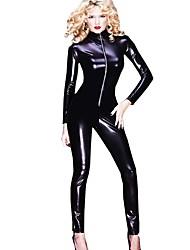 cheap -Zentai Suits Cosplay Costume Zentai Cosplay Costumes Black Solid Leotard/Onesie Spandex Women's Christmas Halloween Carnival Masquerade