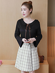 cheap -Women's Going out Simple Cross-Seasons Blouse Skirt Suits,Solid Striped Round Neck Long Sleeves Cotton Polyester