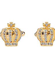 economico -A corona Argento Blu Dorato Gemelli Diamanti d'imitazione Lega Da cerimonia Di tendenza Elegant Matrimonio Evento Per uomo Bigiotteria