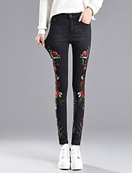 cheap -Women's Cotton Jeans Pants - Floral High Rise