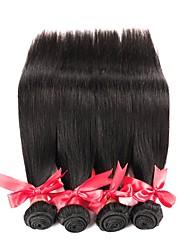 Недорогие -4 Связки Бразильские волосы Прямой 10A Не подвергавшиеся окрашиванию Человека ткет Волосы Ткет человеческих волос Расширения человеческих волос Жен. / Прямой силуэт