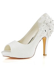 cheap -Women's Shoes Lace / Stretch Satin Spring / Summer Basic Pump Wedding Shoes Stiletto Heel Peep Toe Crystal Ivory / Party & Evening