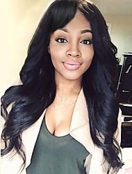 cheap -Women Synthetic Wig Long Black Natural Wavy Hair with Side Bangs Natural Wig.