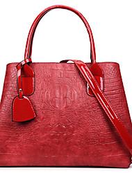 cheap -Women's Bags PU Tote Zipper Black / Red / Brown
