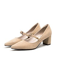 preiswerte -Damen Schuhe maßgeschneiderte Werkstoffe Frühling Herbst Pumps High Heels Blockabsatz Geschlossene Spitze Schnalle für Kleid Mandelfarben