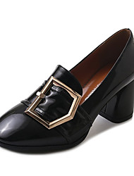 cheap -Women's Shoes PU Spring Fall Comfort Heels High Heel Round Toe for Casual Beige Black