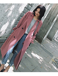 cheap -Women's Casual Coat-Solid Colored,Oversized Shirt Collar