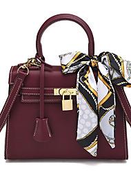 cheap -Women Bags PU Tote Sashes/ Ribbons for Formal Office & Career All Season Khaki Wine Black Blue