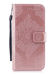 cheap -Case For Samsung Galaxy S8 Plus S8 Card Holder Wallet with Stand Pattern Embossed Full Body Cases Solid Color Mandala Hard PU Leather for