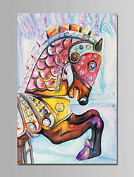 abordables -Peinture à l'huile Hang-peint Peint à la main - Animaux Animaux Moderne Toile