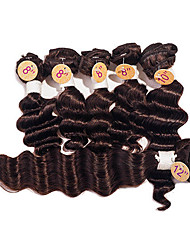 cheap -Brazilian Hair Deep Wave Virgin Human Hair Hair Weft with Closure Human Hair Weaves Dark Brown Human Hair Extensions