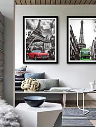 Недорогие -Архитектура Транспорт Иллюстрации Предметы искусства,ПВХ материал с рамкой For Украшение дома Предметы искусства в рамках Гостиная