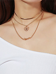 cheap -Women's Layered Pendant Necklace / Layered Necklace - Cross, Heart, Letter Multi Layer Gold Necklace For Party, Valentine