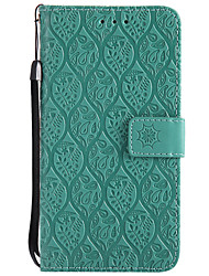 cheap -Case For Huawei Y3 (2017) Card Holder Wallet with Stand Embossed Full Body Cases Solid Color Flower Hard PU Leather for Huawei Y6