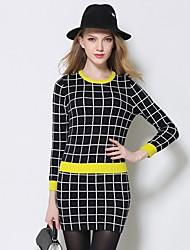 abordables -Mujer Blusa - A Cuadros, Patrones cuadrados Falda