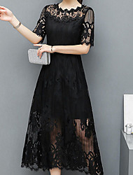 cheap -Women's Daily Casual Sheath Lace Midi Dress, Solid Round Neck Half Sleeves Spring Summer High Waist