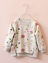 cheap -Girls' Floral Hoodie & Sweatshirt, Cotton Spring Fall Long Sleeves Simple White