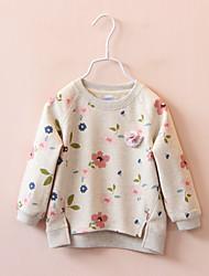 abordables -Pull à capuche & Sweatshirt Fille Fleur Coton Printemps Automne Manches longues simple Blanc