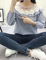 Women's Daily Wear Going out Cute Shirt,Floral Round Neck Long Sleeves Cotton