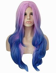 cheap -Synthetic Wig Curly / Body Wave Synthetic Hair Ombre Hair / Middle Part Blue / Purple Wig Women's Cosplay Wig / Lolita Wig / Party Wig