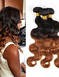 abordables -Cheveux Brésiliens Bundles Cheveux Vierges Ondulation naturelle Tissages de cheveux humains 3pcs Grosses soldes A Ombre