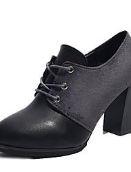 Недорогие -Жен. Обувь Полиуретан Весна Осень Удобная обувь Обувь на каблуках На толстом каблуке для на открытом воздухе Черный Серый