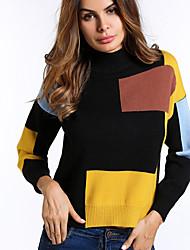 preiswerte -Damen Langarm Pullover-Einfarbig Rundhalsausschnitt