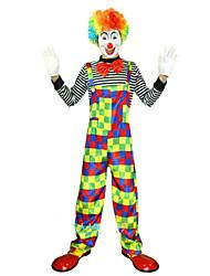 Недорогие -Клоун Цирк Косплэй Kостюмы Костюм для вечеринки Муж. Вечеринка Сплошной Мужская Равномерное Карнавал Фестиваль / праздник Полиэстер Цвет радуги Карнавальные костюмы Контрастных цветов