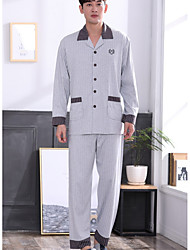 cheap -Men's Suits Pajamas,Floral Polyester Gray