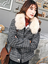 cheap -Women's Coat - Color Block, Fur Trim Shirt Collar