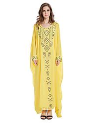 abordables -Robe Arabe / Abaya Femme Fête / Célébration Déguisement d'Halloween Jaune Couleur Pleine Mode / Mousseline de soie