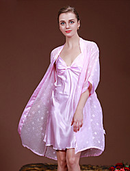 cheap -Women's Suits Satin & Silk Pajamas-Stylish,Solid
