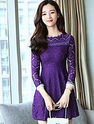 cheap -Women's Cotton A Line Lace Dress - Solid Colored Artistic Style Classic Style