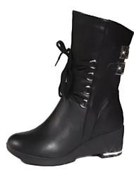 Недорогие -Жен. Обувь Полиуретан Весна Осень Удобная обувь Модная обувь Ботинки Туфли на танкетке Сапоги до середины икры для Повседневные Черный