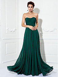 cheap -A-Line Strapless Sweep / Brush Train Chiffon Formal Evening / Military Ball Dress with Ruched by TS Couture®