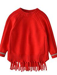 cheap -Girls' Solid Sweater & Cardigan,Cotton Acrylic Winter Short Sleeve Simple Khaki Yellow Red Green