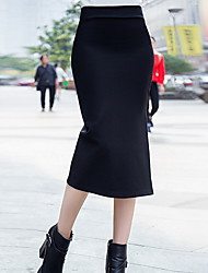 cheap -Women's Daily Midi Skirts,Casual Bodycon Linen Print Fall/Autumn