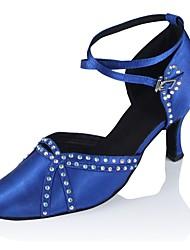 abordables -Femme Chaussures Modernes Satin Sandale / Talon Professionnel Talon Personnalisé Personnalisables Chaussures de danse Noir / Bleu