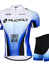 cheap -Nuckily Short Sleeve Cycling Jersey with Shorts - Blue Bike Shorts / Jersey / Clothing Suit, Waterproof, Ultraviolet Resistant, Breathable Polyester / Stretchy / Reflective Strips