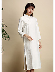 cheap -Women's Daily Vintage Loose Dress,Solid Stand Midi Long Sleeve Linen All Season High Rise Micro-elastic Thin
