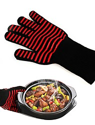cheap -1PC Long Red Cotton Microwave Oven Mitts Barbecue Baking BBQ Heat Insulation Cooking Protection Gloves