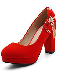 baratos -Mulheres Sapatos Pele Nobuck Primavera / Outono Conforto / Inovador Saltos Salto Alto Dedo Apontado Laço / Tachas Preto / Vermelho